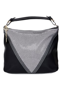 Toniq Geo Black And Grey Embellished Hobo Bag