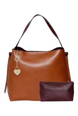 Toniq Grace Kelly Tan & Maroon Hobo Bag With Pouch