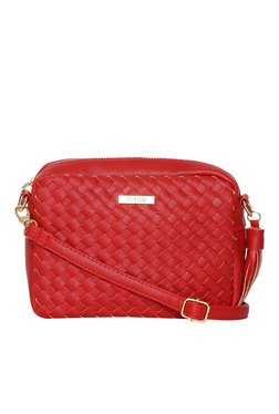 Toniq Jean Red Interlaced Sling Bag