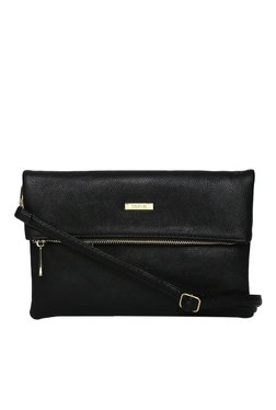Toniq Black Fold Over Solid Sling Bag