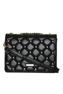 Toniq Black Studs Quilted Sling Bag