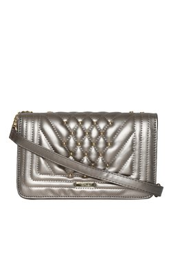 Toniq Silver Studs Quilted Sling Bag