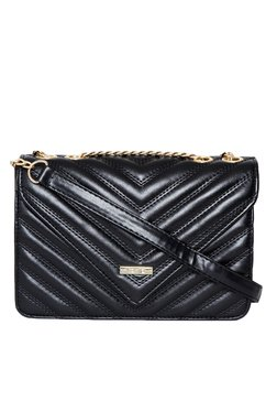 Toniq Arrow Down Black Quilted Sling Bag