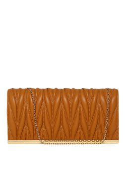 Toniq Pleats Please Tan Quilted Sling Bag