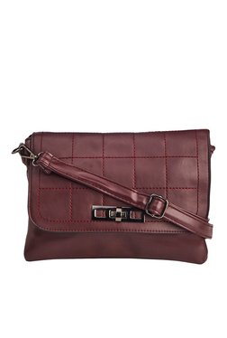 Vero Couture Maroon Twist Lock Sling Bag