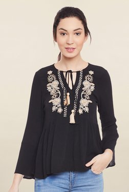 Global Colours Black Embroidered Top