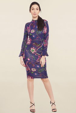 Global Colours Purple Floral Print Dress