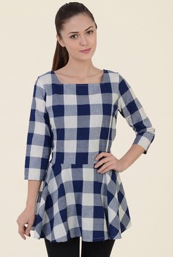 Mystree Blue & Off White Checks Top