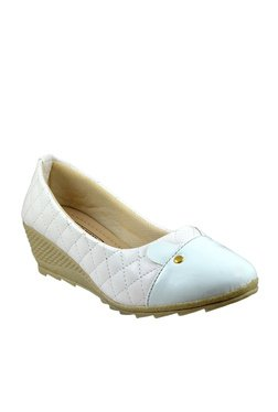 Leatherwood1 White & Sky Blue Wedge Heeled Pumps
