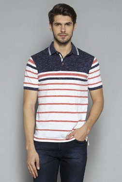 Westsport by Westside Coral & White Slim Fit T Shirt