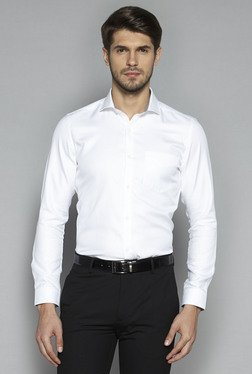 Weststreet By Westside White Textured Slim Fit Shirt