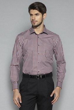 Weststreet by Westside Maroon Regular Fit Shirt