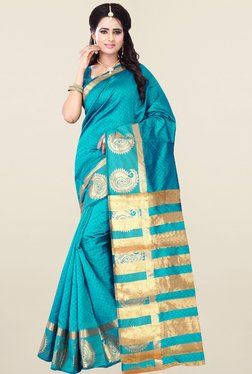 Nirja Creation Turquoise Cotton Silk Banarasi Saree
