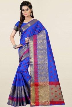 Nirja Creation Blue Paisley Print Cotton Silk Banarasi Saree
