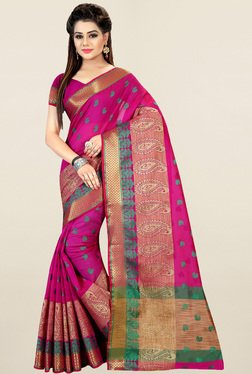 Nirja Creation Pink Paisley Print Cotton Silk Banarasi Saree