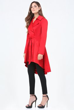 Bebe Red Solid Trench Coat