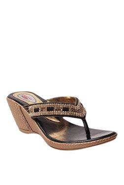 Lishabee By MSC Black & Golden Wedge Heeled Thong Sandals