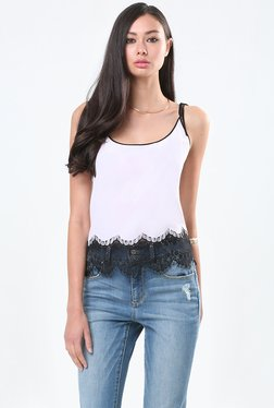 Bebe Off White Lace Tank Top