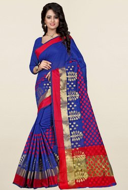 Nirja Creation Blue Printed Cotton Silk Banarasi Saree - Mp000000001231965