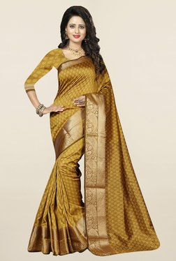 Nirja Creation Mustard Self Print Cotton Silk Banarasi Saree