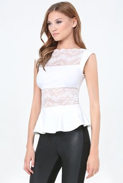Bebe Off White Lace Peplum Top