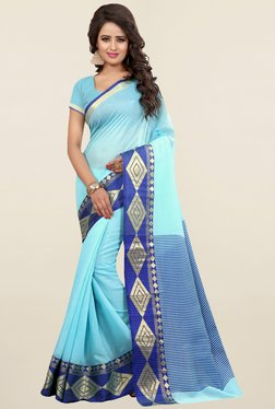 Nirja Creation Sky Blue Printed Cotton Silk Banarasi Saree