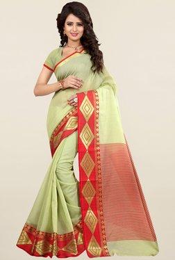 Nirja Creation Green Printed Cotton Silk Banarasi Saree