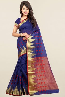 Nirja Creation Blue Printed Cotton Silk Banarasi Saree