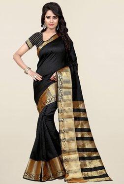 Nirja Creation Black Self Print Cotton Silk Banarasi Saree
