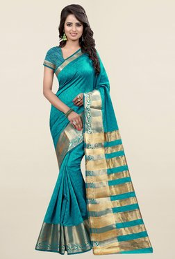 Nirja Creation Teal Self Print Cotton Silk Banarasi Saree