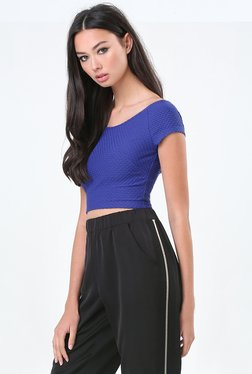 Bebe Blue Self Print Crop Top