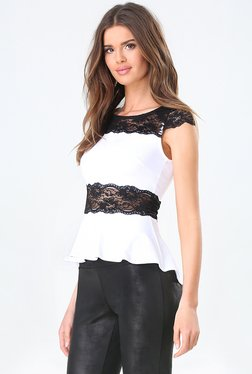 Bebe Off White Lace Peplum Top - Mp000000001232994