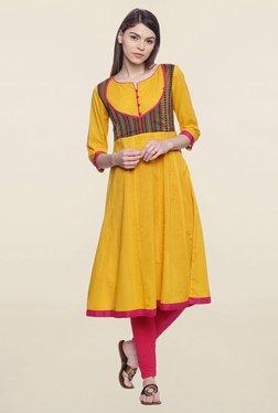 Mytri Yellow Embroidered Cotton Anarkali Kurta