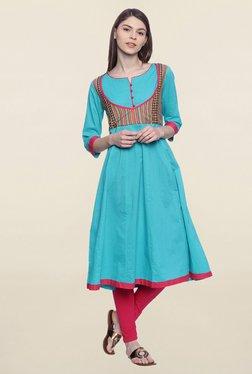 Mytri Turquoise Embroidered Cotton Anarkali Kurta