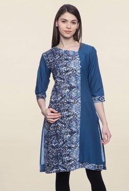 Mytri Blue Printed Cotton Kurti