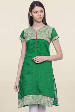 Mytri Green Printed Chanderi Kurti