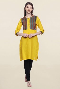 Mytri Yellow Embroidered Cotton Kurti
