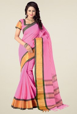 Ishin Pink Printed Saree With Blouse