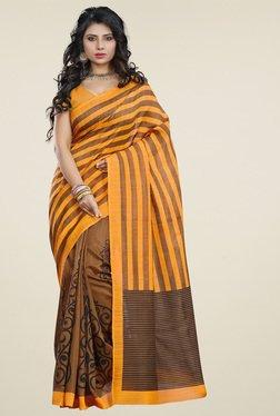 Ishin Brown & Orange Printed Saree