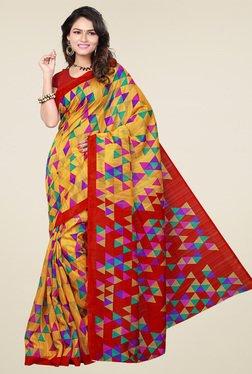Ishin Yellow & Red Printed Saree