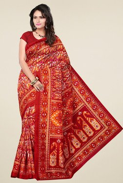 Ishin Red Printed Bhagalpuri Art Silk Saree