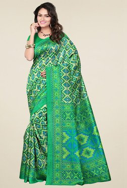 Ishin Green Printed Bhagalpuri Art Silk Saree