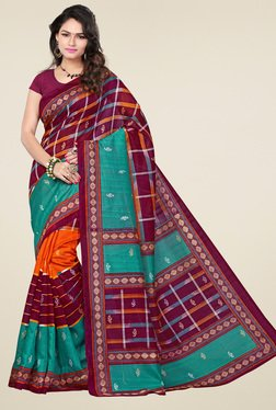 Ishin Multicolor Printed Saree With Blouse - Mp000000001234596