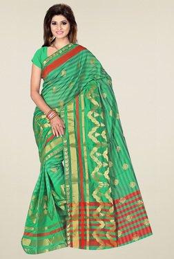 Ishin Green Printed Saree With Blouse