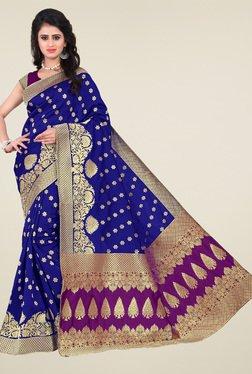 Ishin Royal Blue & Purple Banarasi Silk Saree