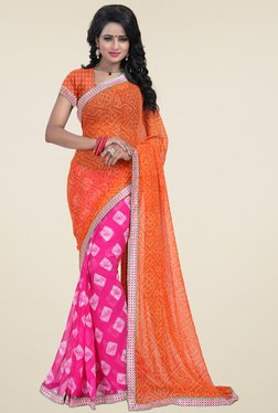 Ishin Orange & Fuchsia Half & Half Printed Saree