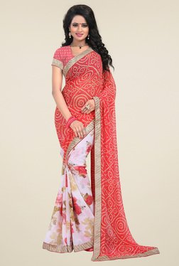 Ishin Red & Off-White Half & Half Printed Saree