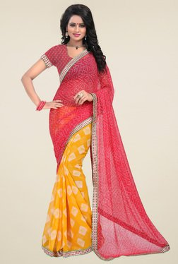 Ishin Dark Pink & Mustard Half & Half Printed Saree