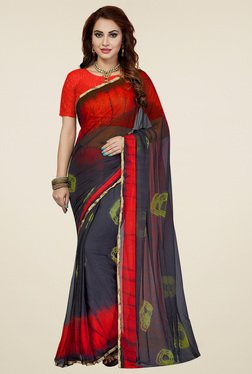 Ishin Charcoal & Red Tie & Dye Saree