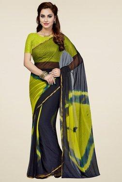 Ishin Charcoal & Green Tie & Dye Saree